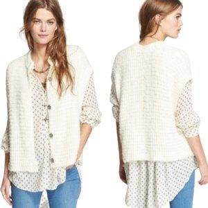 Free People Ivory Knit Snap Front Cardigan Vest -L